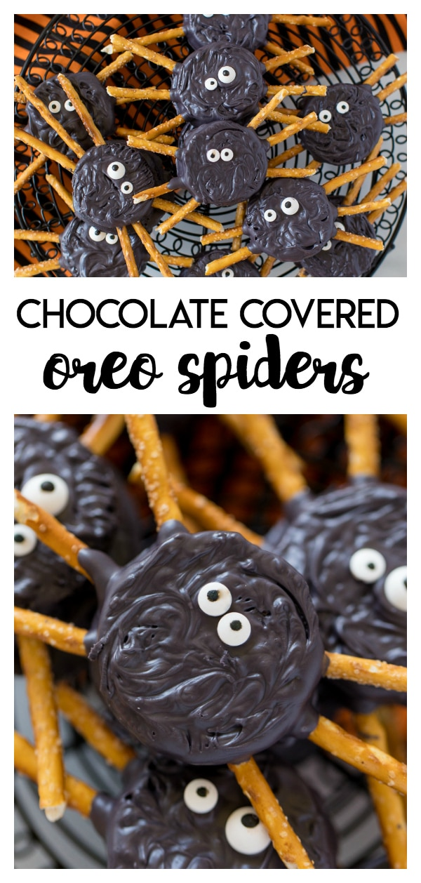Oreo Spiders: a delicious and yummy kid friendly halloween treat. Oreo cookies, chocolate melts, pretzels and some candy eyes are all you need to make these tasty treats.