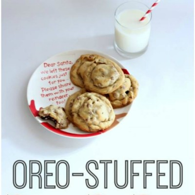 Oreo Stuffed Chocolate Chip Cookies:Christmas Cookie Exchange