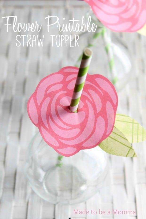 Flower Printable Straw Topper