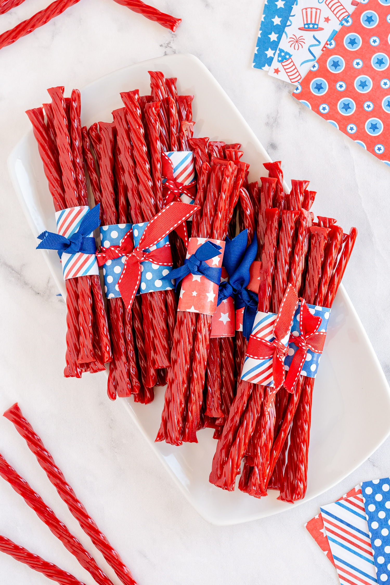 Twizzler Favors on white plate