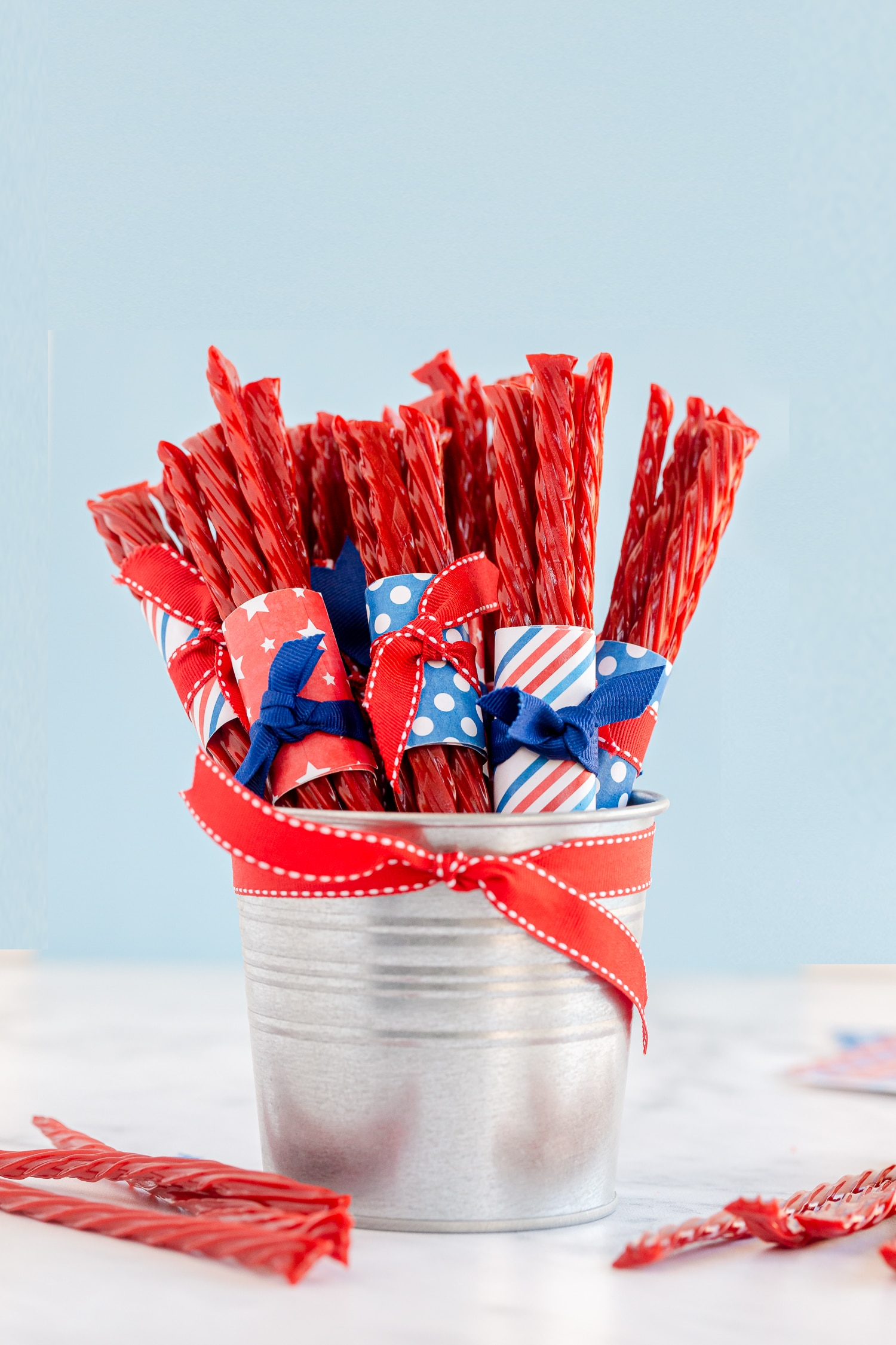 Fourth of July Twizzler Favors in bucket