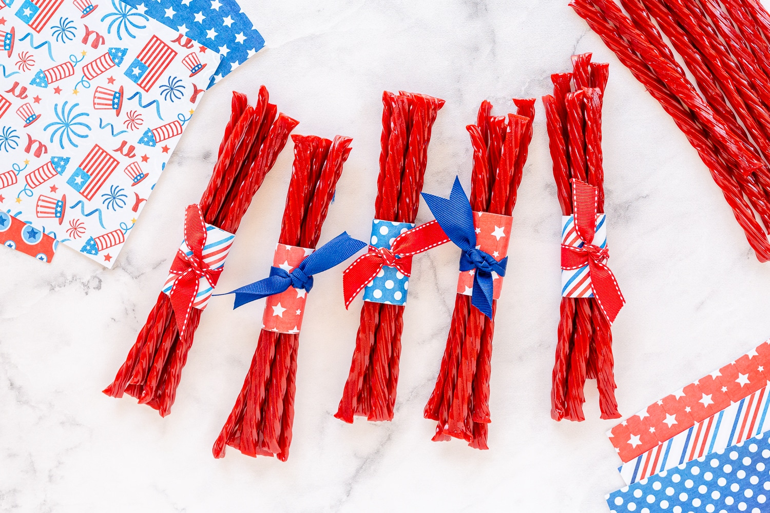 twizzlers wrapped in Fourth of July Paper