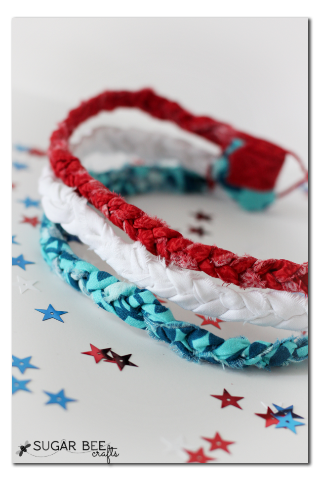 red white blue braided headband no sew