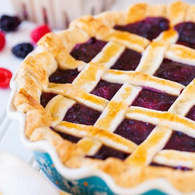 Triple Berry Pie with Lattice Crust