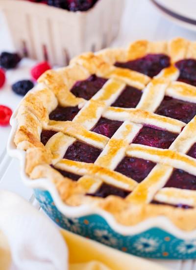 Triple Berry Pie with Lattice Crust