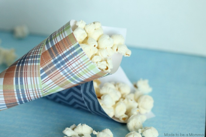 Cones filled with Popcorn