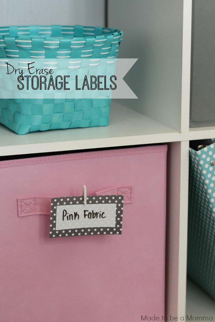 Dry Erase Storage Labels