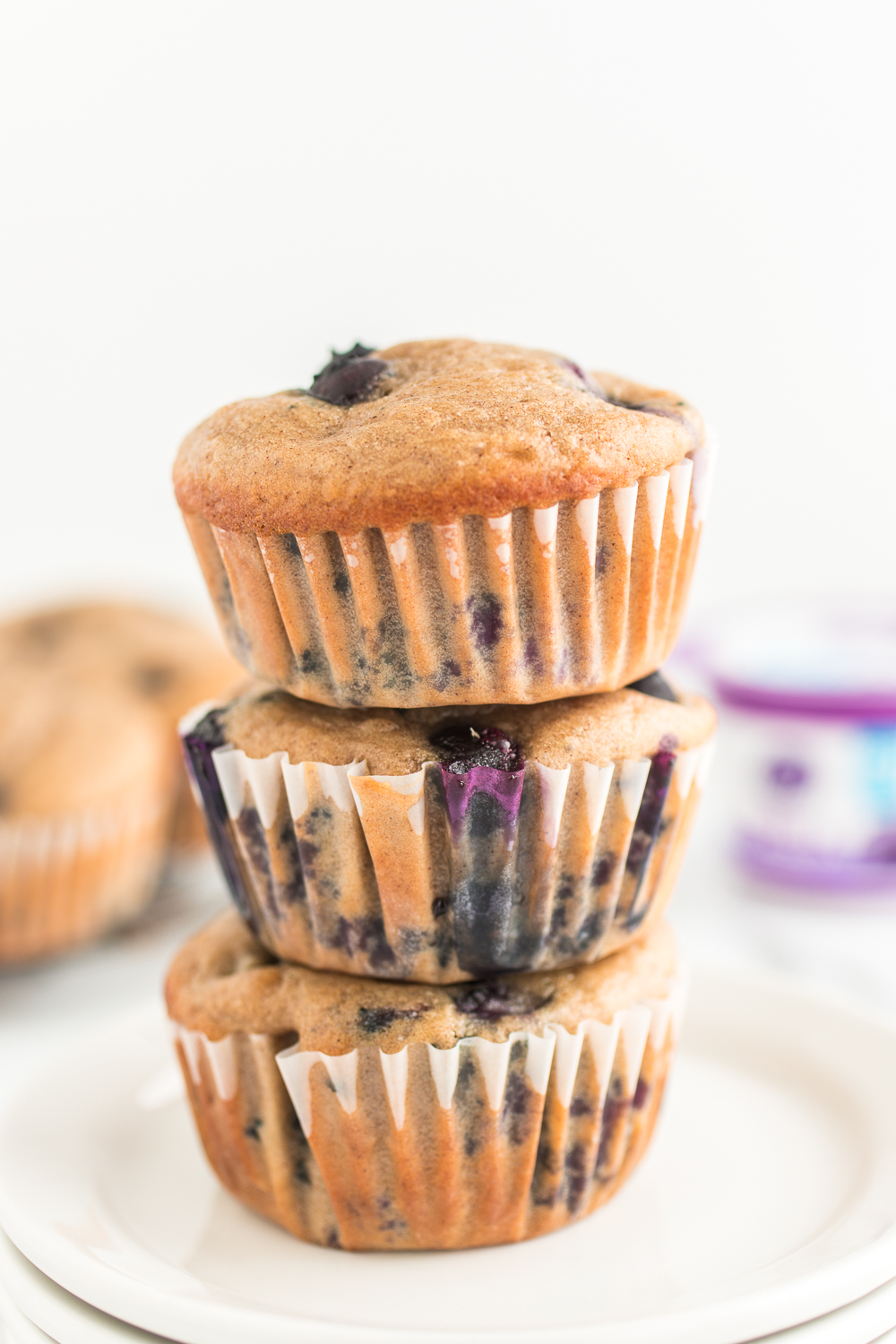 blueberry greek yogurt muffins stacked