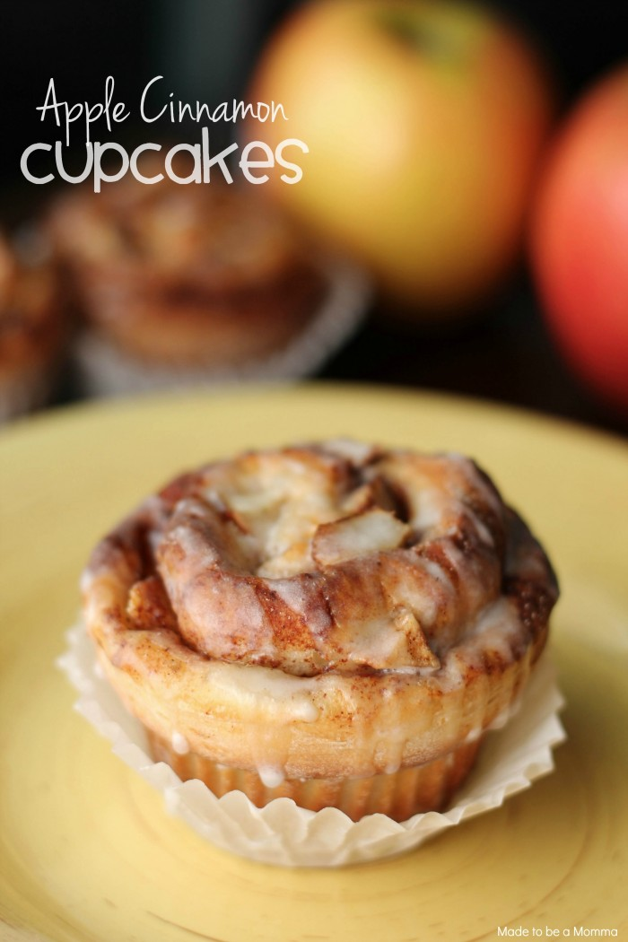 Apple Cinnamon Cupcakes that have the taste of an apple pie with the mix of a cinnamon roll! Yum!