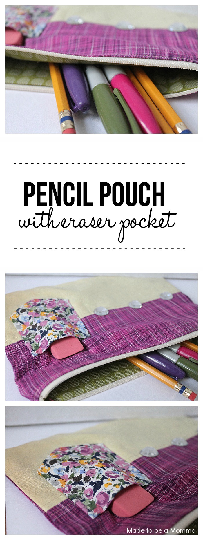 Pencil Pouch with Eraser Pocket