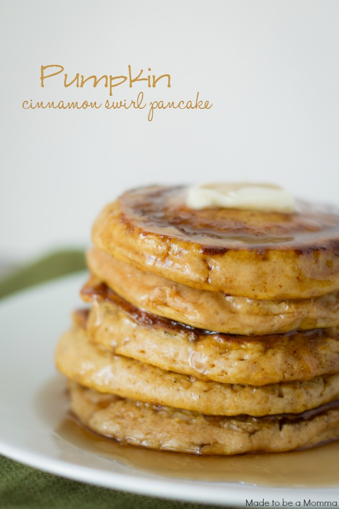 Pumpkin Cinnamon Swirl Pancakes - Made To Be A Momma