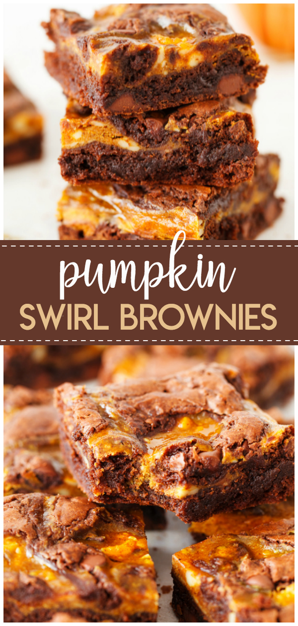 Pumpkin Swirl Brownies: a delicious mix of chocolate brownie batter and a cream cheese, fall spiced pumpkin batter. Swirled to perfection for the taste of fall in every bite.