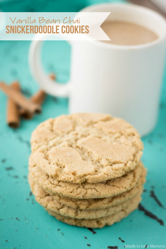 The cookies have the perfect blend of Vanilla chai, cinnamon and sugar and are the perfect cookie for any hot beverage!