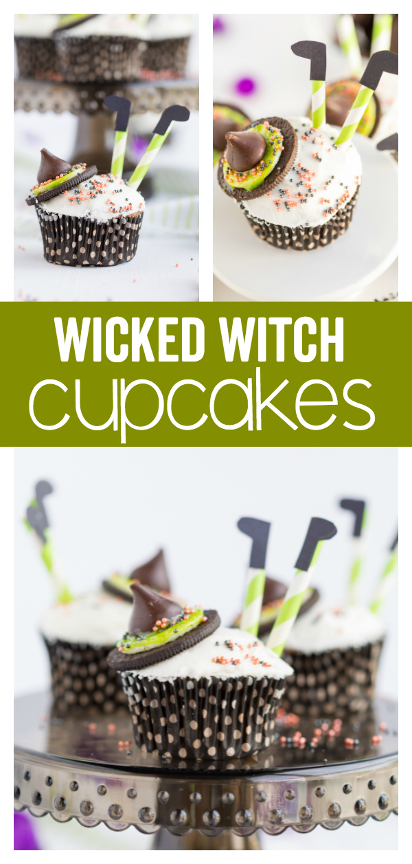 Wicked Witch Cupcakes are a festive and friendly Halloween treat!  Cupcakes topped with the wicked witch accessories makes this a fun treat for the kids to make, share with their friends, or enjoy at a trick or treat party!