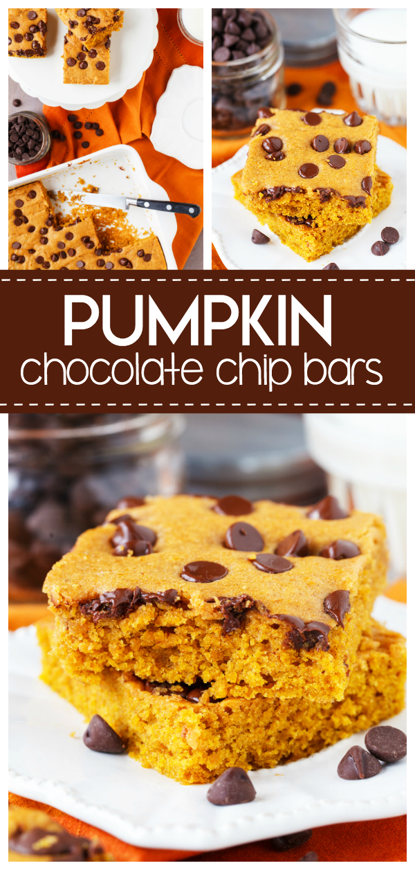 Pumpkin Chocolate Chip Bars are a yummy fall treat filled with pumpkin flavor, fall spices and topped with chocolate chips. It's a one pan dessert that is easy and tastes delicious!