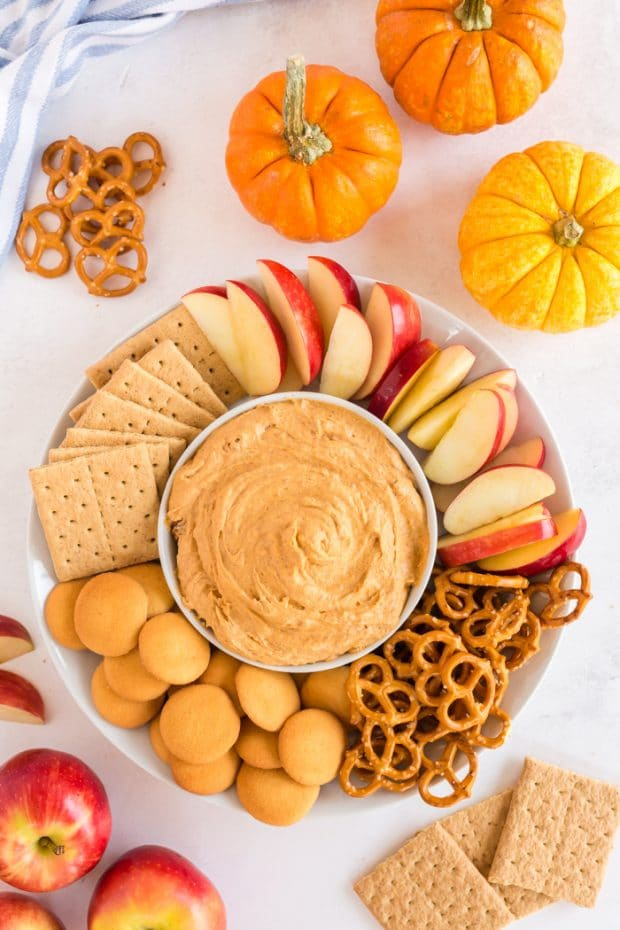 Pumpkin Pie Pudding Dip in Bowl with favorite dippers