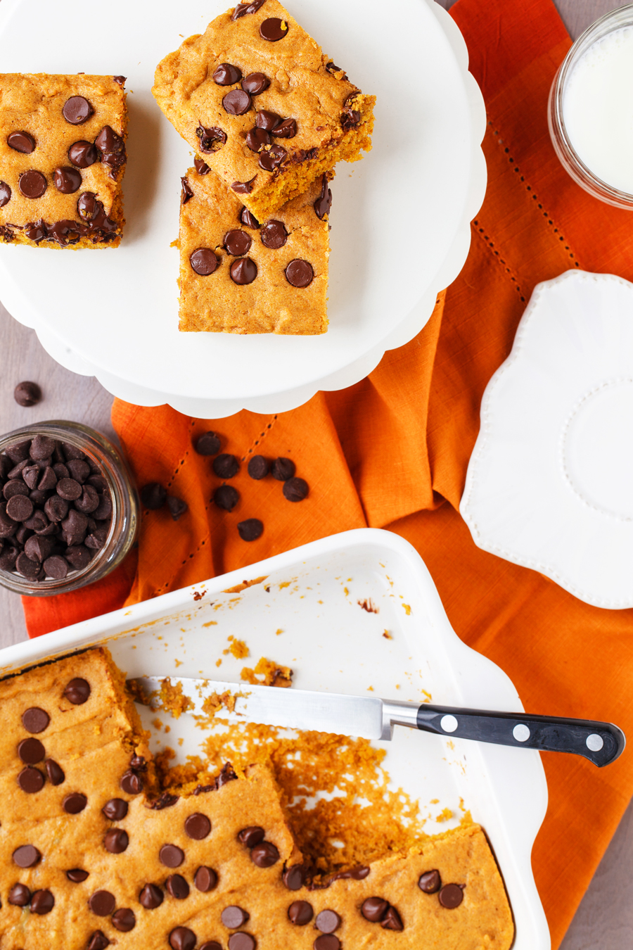 Pumpkin Chocolate Chip Bars Cut Into