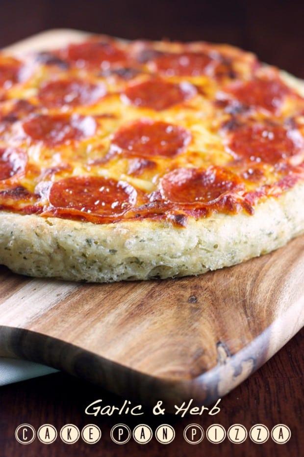 Super Simple Garlic and Herb Cake Pan Pizza via madetobeamomma.com