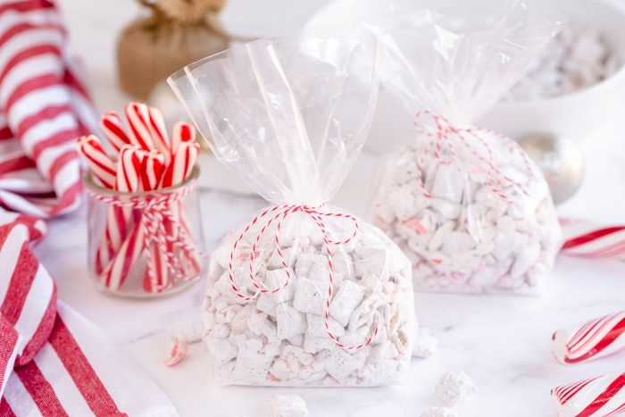 peppermint puppy chow in clear package tied with string