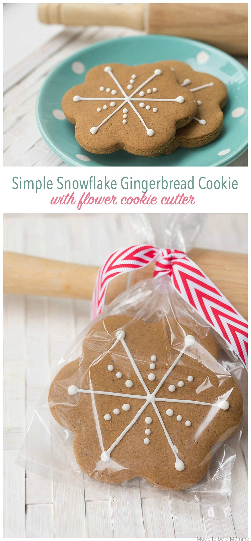 simple snowflake gingerbread cookie with flower cookie cutter