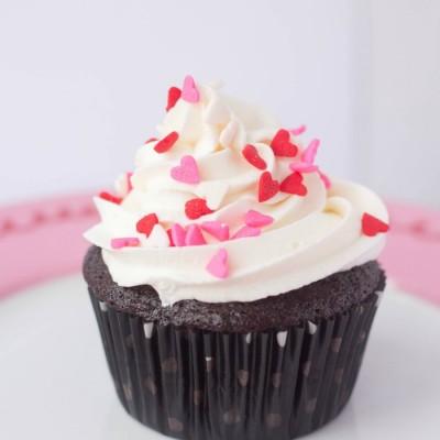Valentine Sprinkle Cupcakes