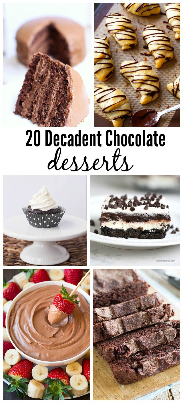 20 Decadent Chocolate Desserts found on madetobeamomma.com- so many mouthwatering treats!