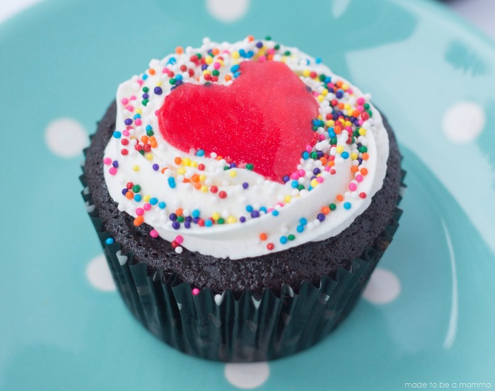 close up of heart cupcake