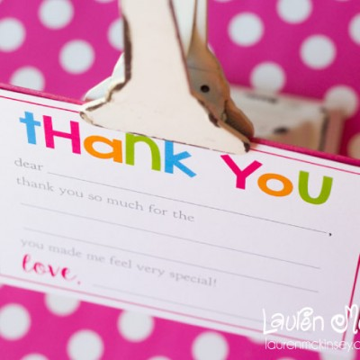 Fill-In Thank You Notes {Freebie}