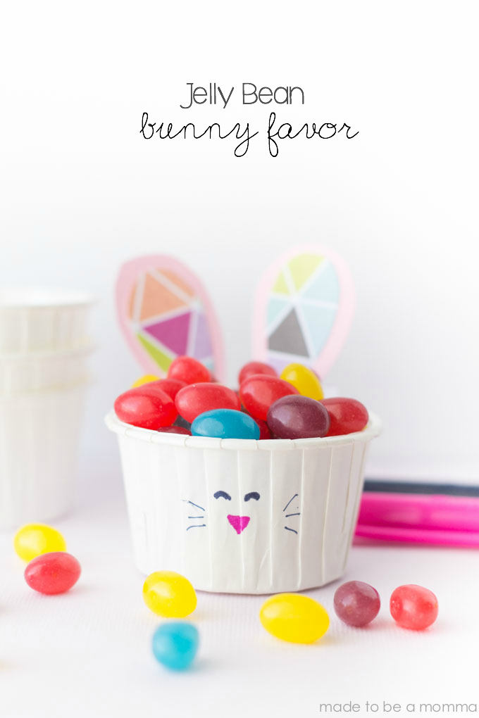 Jelly Bean Bunny Favor: a simple Easter or Spring craft that the kids will love! Found at madetobeamomma.com