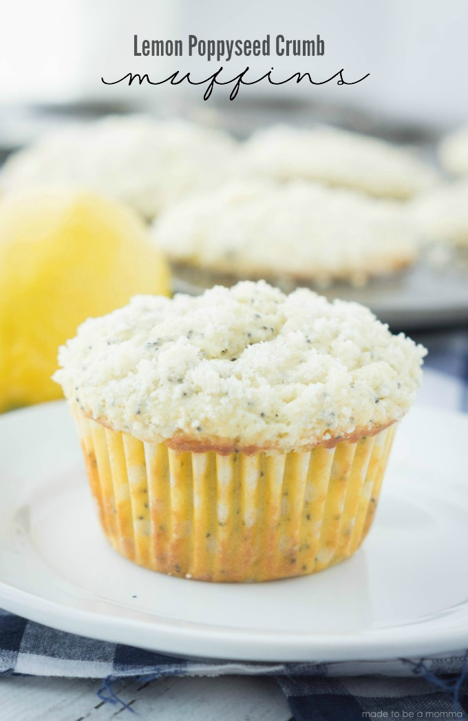 Lemon Poppyseed Crumb Muffins: simple and delicious! Recipe found at madetobeamomma.com