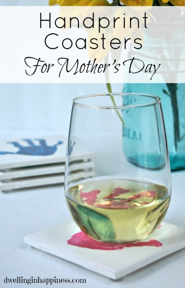 Cute DIY Handprint Coasters for Mothers's Day! From Dwelling in Happiness