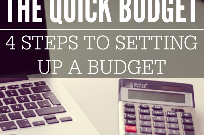 The quick budget is four simple steps that will help you set up a basic budget. This process works great especially if you have never set up a budget before.