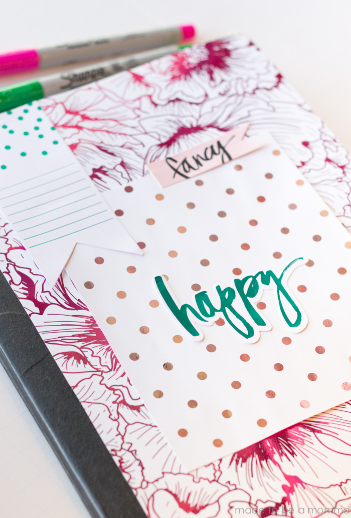 Back to School: Add pretty foiled elements to any composition notebook! #foilallthings