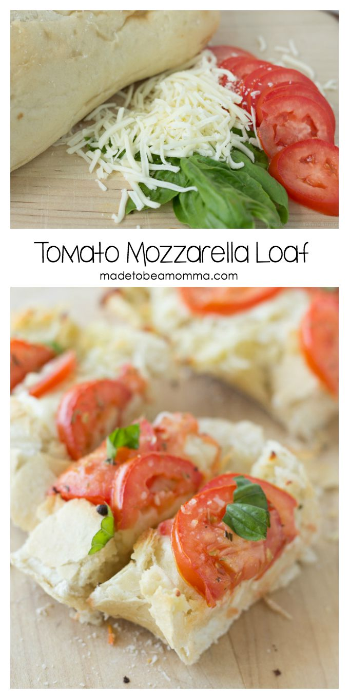 Italian Loaf topped with mozzarella cheese, tomatoes and basil makes for a delicious and simple appetizer!