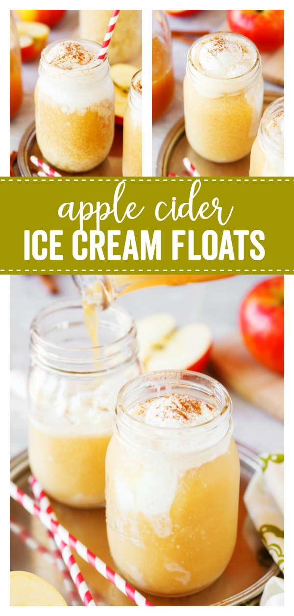 Apple Cider Floats are made with delicious vanilla ice cream, Apple Cider and a dash of cinnamon which makes a tasty cool drink that is perfect for warm fall days.