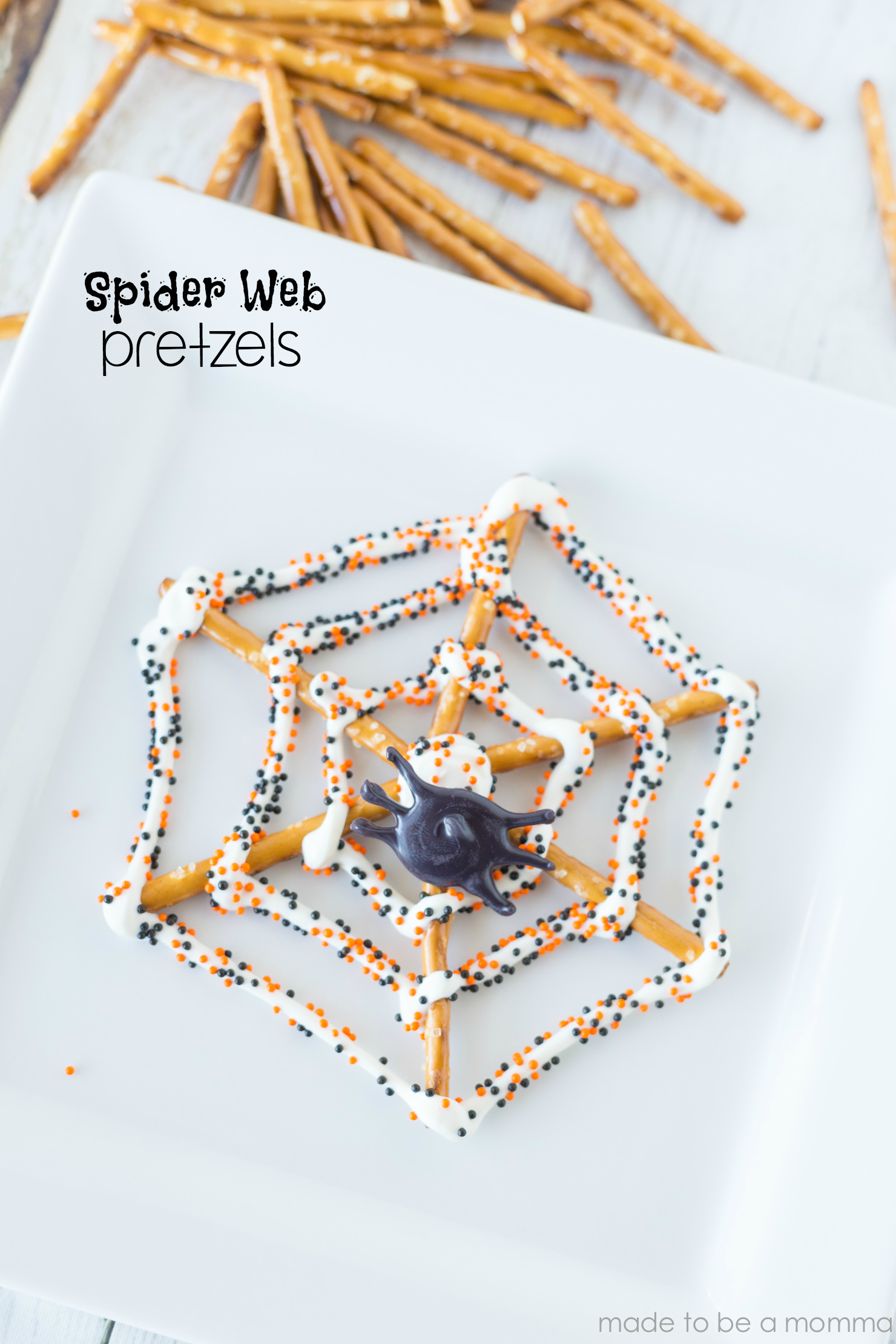 Spider Web Pretzels tutorial at madetobeamomma.com