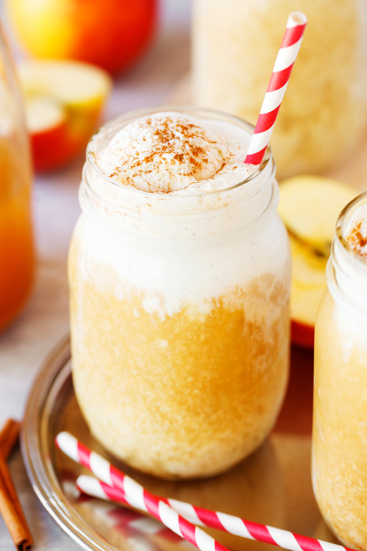 Apple Cider Floats filled with vanilla ice cream