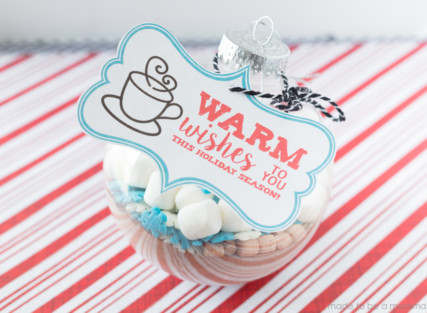 Hot Chocolate Ornament with Free Printable - Made To Be A Momma
