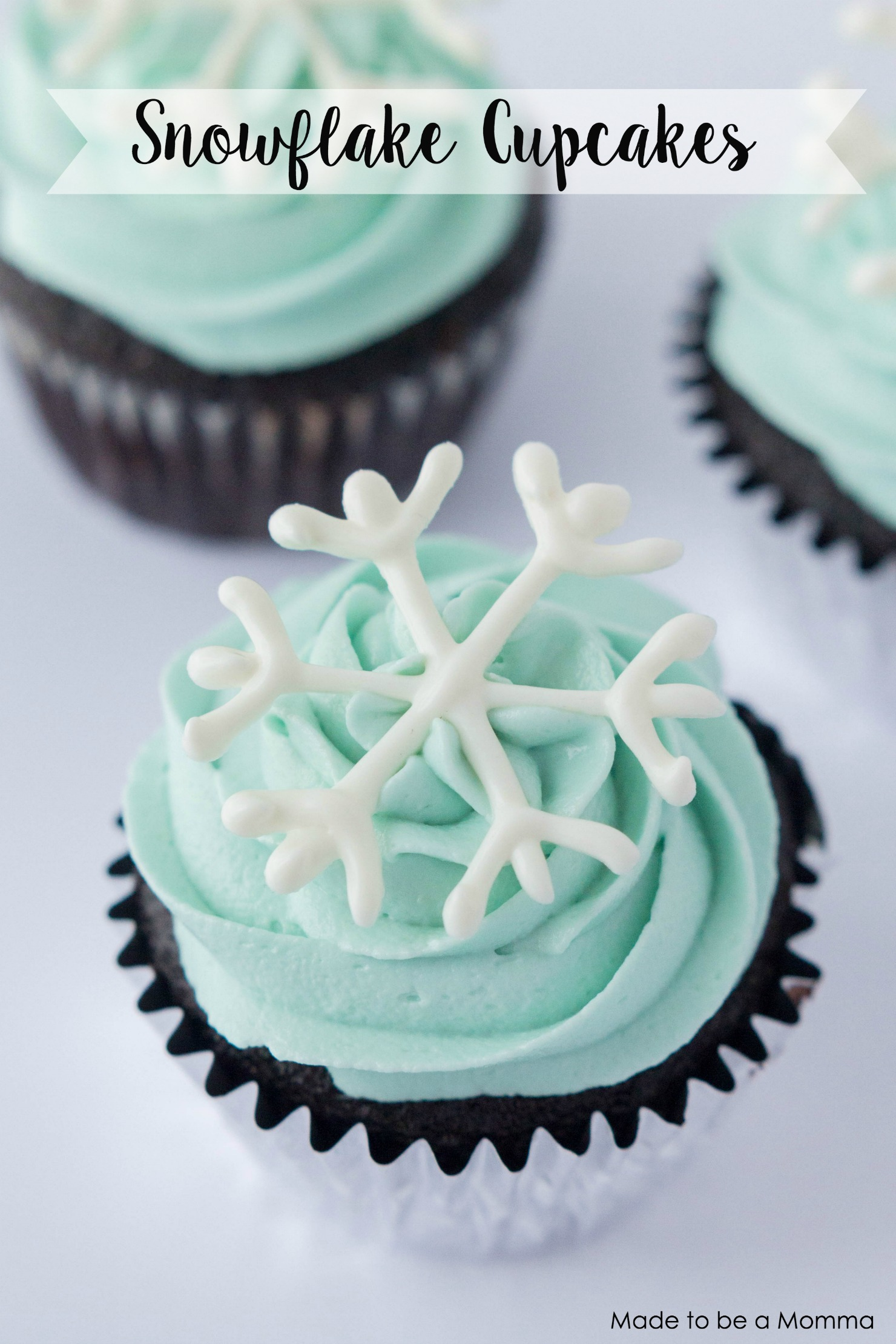 You will never believe how simple these snowflake cupcakes are! All you need is some melting chocolate, cake decorating bag and tip, parchment paper and a snowflake template to trace.