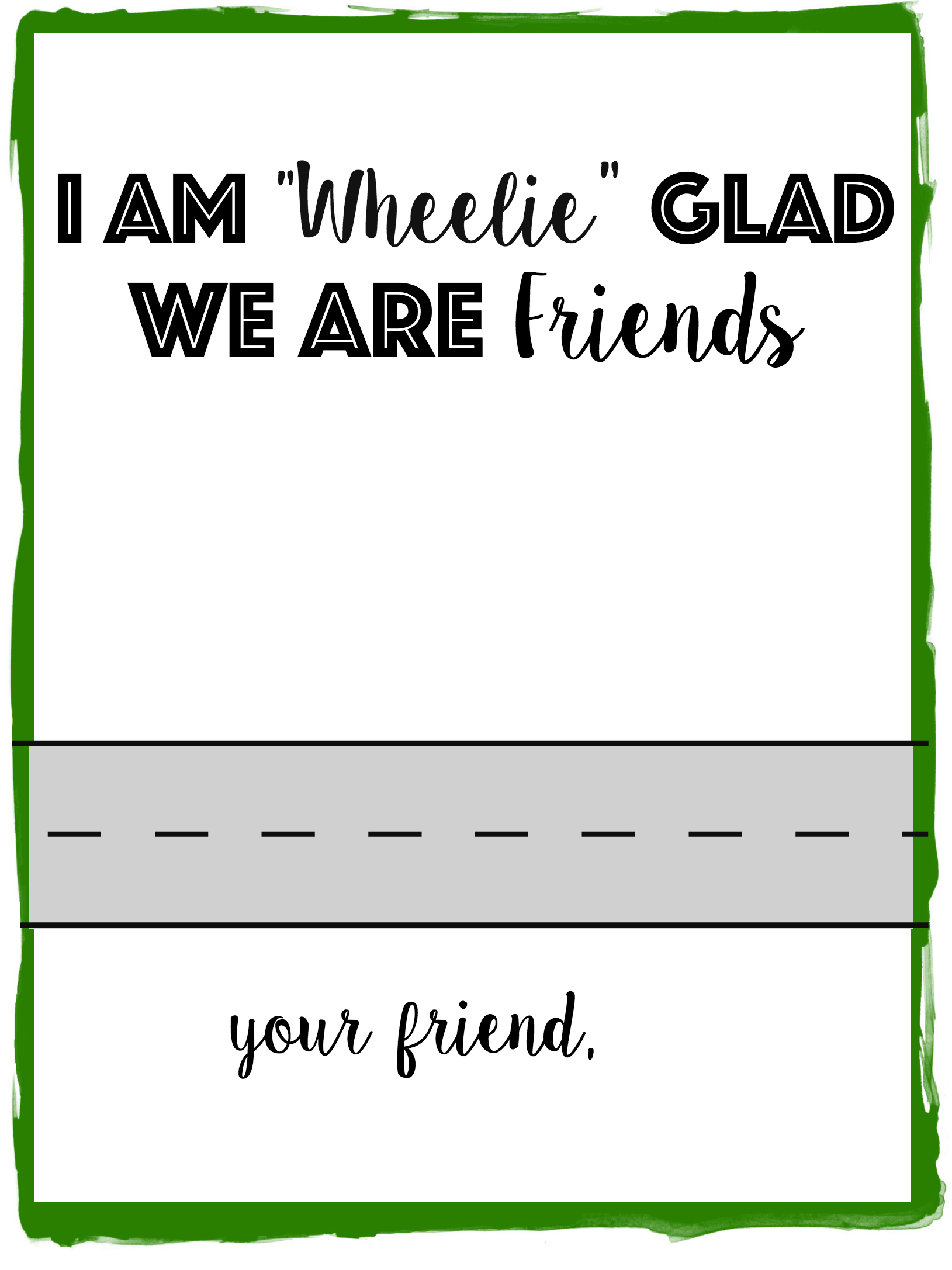"Race Car Valentine Printable: I am ""Wheelie"" Glad We Are Friends! Print this non-candy valentine printable for all the race car loving kids."
