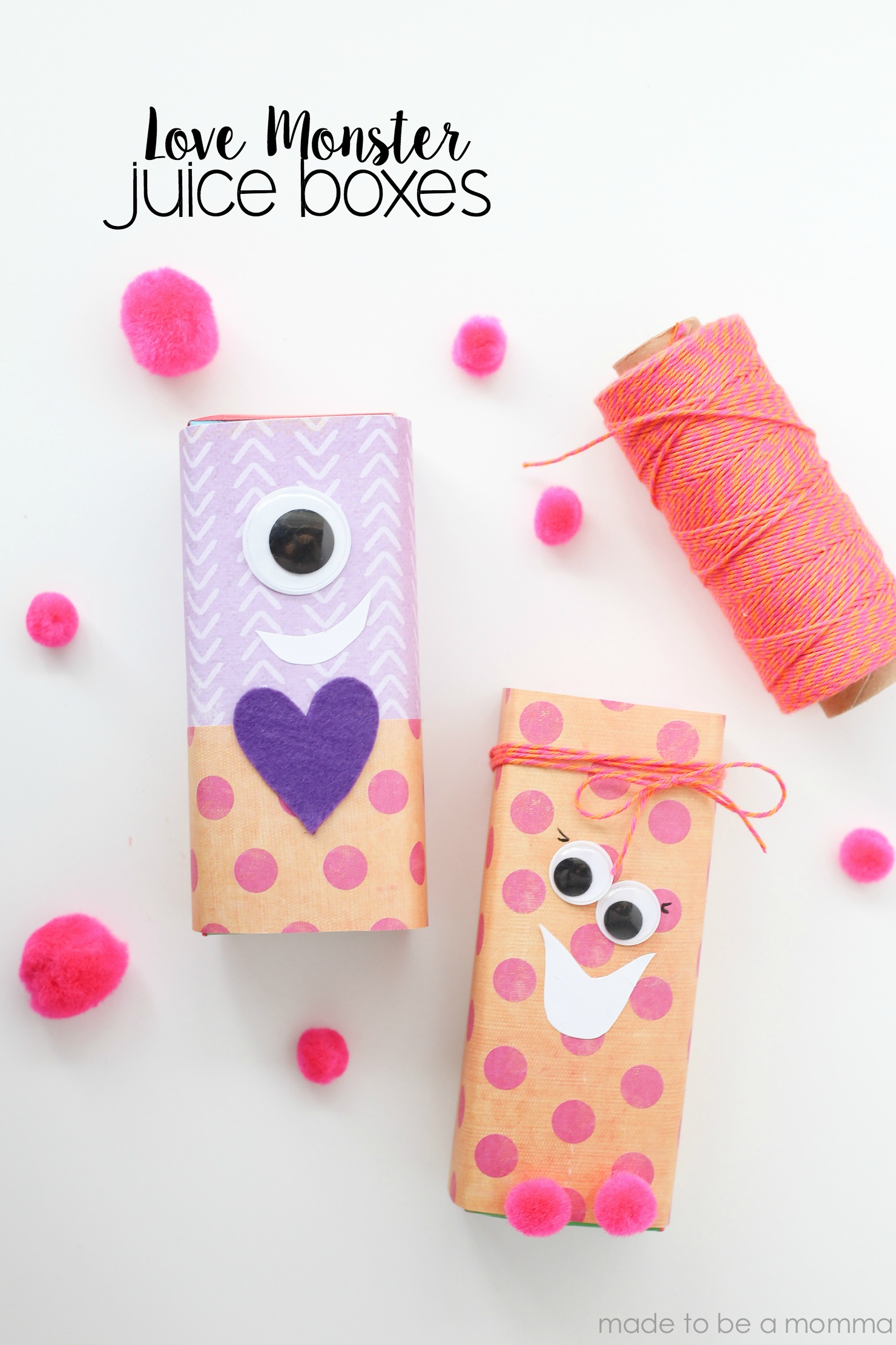 Love Monster Juice Boxes are a fun valentine activity for the kids to do at home or at school.