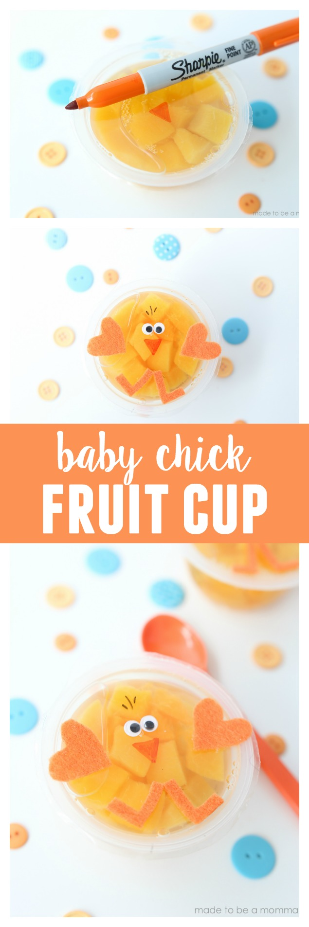 Baby Chick Fruit Cup: a fun spring idea for the kids to take in there lunch boxes or enjoy at home
