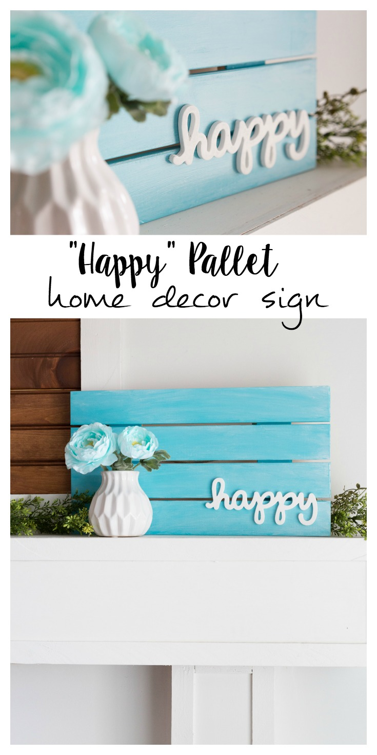 "I love the beautiful simplicity of this pallet home decor sign. The pop of color just says ""Happy!"""