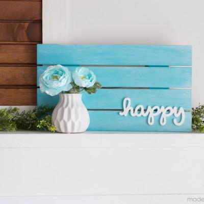"""Happy"" Pallet Home Decor Sign"