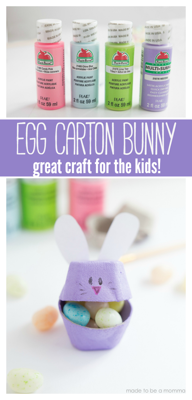 Egg Carton Bunny: a great Easter craft to do with your kids and their friends.