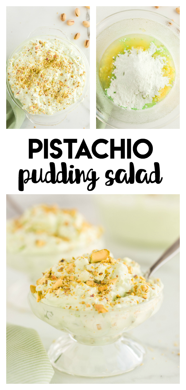 Pistachio Pudding Salad - pistachio pudding, crushed pineapple, and Cool Whip makes this a cool and refreshing pudding treat that will be a hit at any gathering!