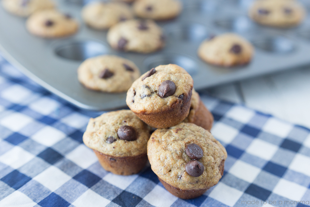 Banana Chocolate Chip Mini Muffins - a delicious and chocolatey breakfast muffin that is sweetened with honey and bursting with flavor.