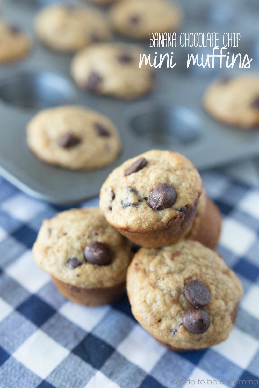 Chocolate Chip Banana Mini Muffins by madetobeamomma.com