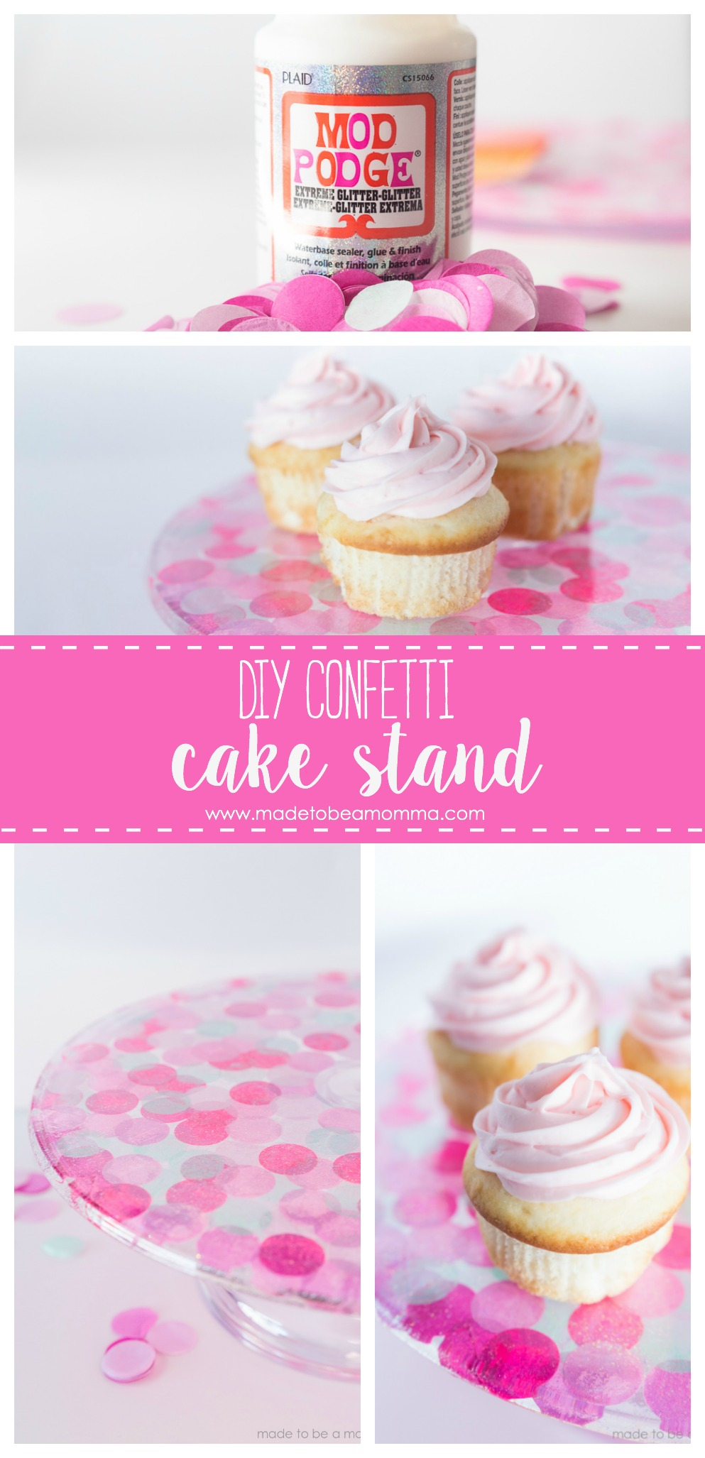 Diy Confetti Cake Stand: a simple diy craft project that will take your parties to the next level! All you need is some Mod Podge, tissue paper confetti and a plastic cake stand!