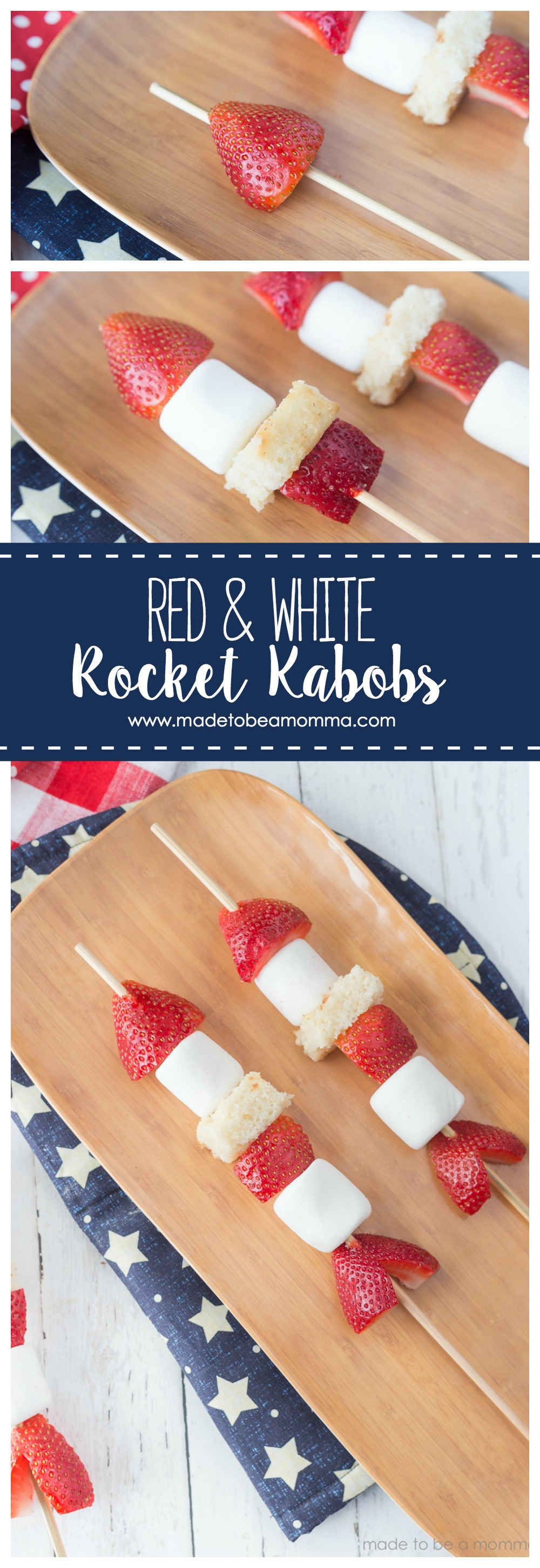 Red and White Rocket Kabobs Made to be a Momma